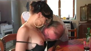 Papy likes to watch babes sucking cock Foot blow