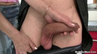 Granny gives head and fucks her son in law Cumshot sucking