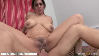 Stunning busty MILF is seduced and fucked by her son's friend Natural busty