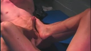Workout scene barefoot young  jocks butt