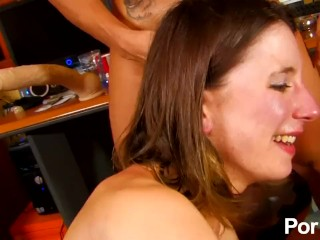 The Adult Video Experience – Amelie Jolie gets DP'ed and facialized by 2 shy Spanish dicks