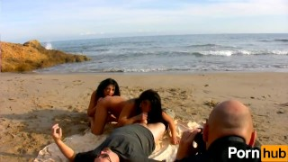 Julia de Lucia and Yesenia Rock share a french cock by the beach porno