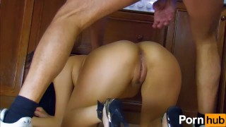 Screen Capture of Video Titled: French Asian babe gets anal'd in the kitchen