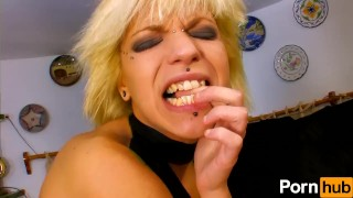 Blonde gets in sex slut kitchen spanish facial doggy