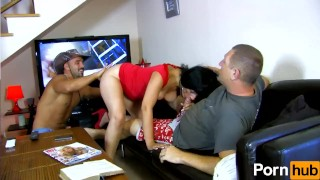two ts doms double team a milf tanya james cant wait to get pantyhose