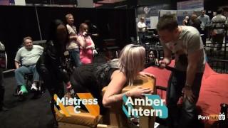 PornhubTV Intern Amber Gets Flogged at eXXXotica 2013 Porn 2013