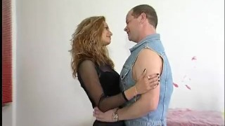 German girl rides a fat cock