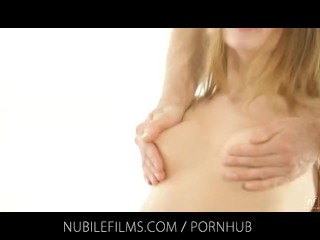 Nubile Films – Cute babe with small tits fucks two horny lovers