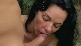 Hot Euro Mom giving the gardener a little extra for his work Big chubby