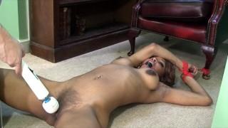 Screen Capture of Video Titled: Ebony Slut Bound Orgasm