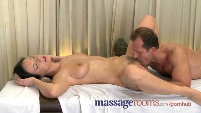 Deep wet vagina Massage rooms wet shaved pussy licked before big cock slides deep inside