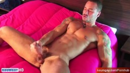 Real handsome brazilian sport guy get wanked his huge cock