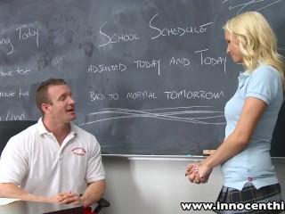 Preview 1 of InnocentHigh Blonde schoolgirl fucks horny coach