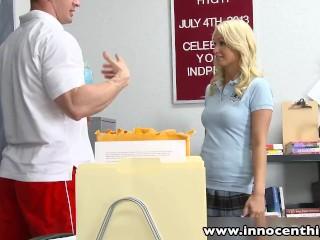 Preview 3 of InnocentHigh Blonde schoolgirl fucks horny coach