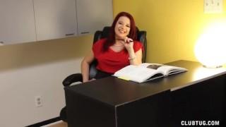 Naughty Boss Jerks Off Her Employee