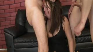Two White Dicks Slamming Her Slutty Latina Throat porno