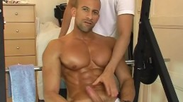 Breno, very handsome muscled latino guy get wanked his huge cock by me !