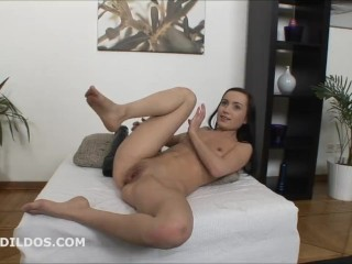 Tiny girl stuffing her pussy with two monster brutal dildos in HD