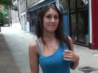 Sexy girl in a short skirt toying her pussy