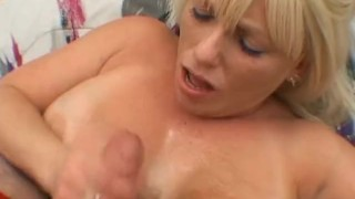 Busty blonde sucking a cock smaller than her tits porno