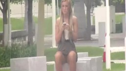 Upskirt video on blonde girl at the park