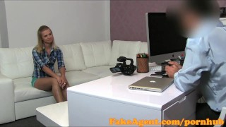 Preview 1 of FakeAgent First time creampie for hot blonde