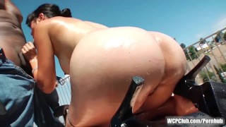 Asian chick taking a massive BBC up her ass