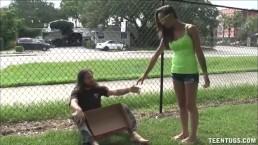 Sexy Teen Jerks Off A Homeless Guy