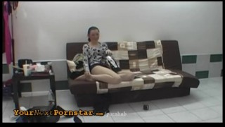Crazy wannabe does sexy striptease and blowjob Natural blonde
