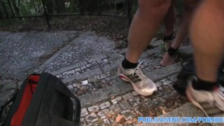 PublicAgent Fucking a tall brunette on public pathway Hardcore pov