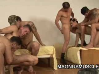 Six muscular soldiers wild military orgy sex...