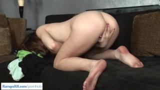Pornstar Tiffany Haze is masturbating on the couch