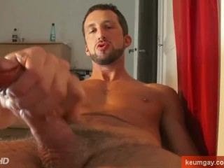 An italian stalion get wanked his huge cock by us!