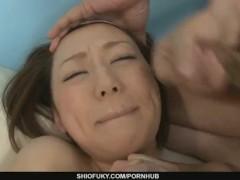 Pretty Asian Rina Yuuki sprrayed with man gravy