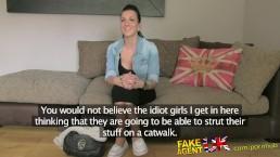 FakeAgentUK Tattoed chick deepthroats and gets creampie award