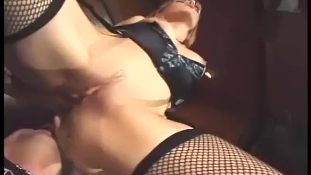 Sexy women in garter belts Facesitting and fucking in sexy fishnet stockings garter belt and a corset