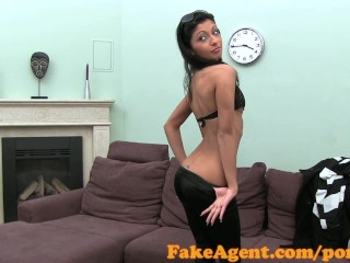 FakeAgent Super skinny babe makes spunk fly