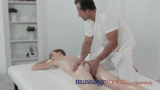 Massage Rooms Deep and intense fuck makes freckled redhead squirt porno