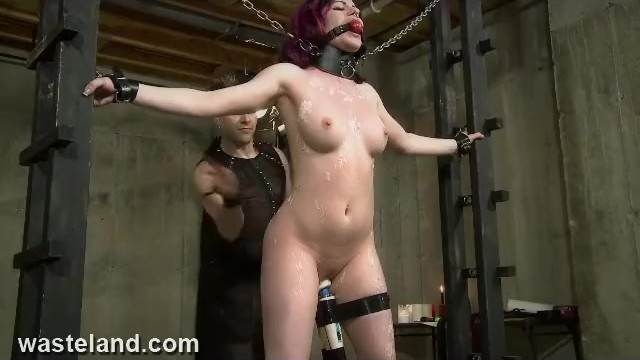 Candle sex wax - Redhead submissive chained to rack, whipped, waxed and made to cum hard