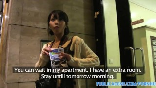 PublicAgent Tiny Japanese pussy filled with big cock  sex for money sex for cash point of view big cock bj oral asian amateur cumshot cocksucking pov real camcorder brunette reality petite publicagent