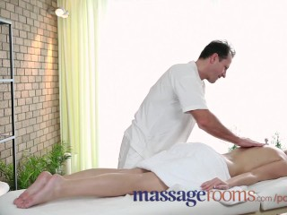 Preview 2 of Massage Rooms Big boobs blonde gets oiled up before filthy hardcore fucking