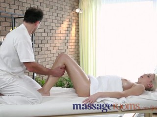 Preview 5 of Massage Rooms Big boobs blonde gets oiled up before filthy hardcore fucking