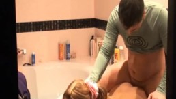Pretty blonde catches her man spying on her while she shaves