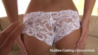 Nubiles Casting - Porn tryouts for busty babe ends with gooey facial Tits pov