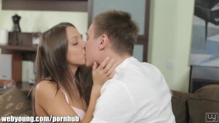Webyoung College guy sucking Petite Teen Angel's Pussy Teenager reverse