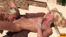 Two skinny blondes do fuck on the patio