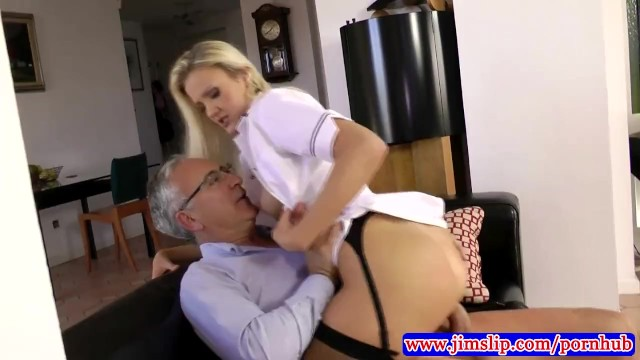 Lacy lingerie slip womens Blonde nurse fucking an old man