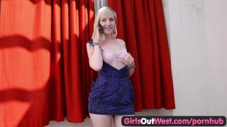 Girls Out West - Sexy blondie has a phone call Squirt fuckingmachines