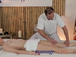 Petite woman has her masseurs big dick...