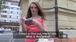 Love Creampie Naughty redhead tourist takes a fat cock in a public car park